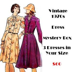 Mystery Box of 3 Vintage 1970s Dresses S M L